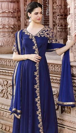 Navy Blue Pure Georgette Salwar Kameez