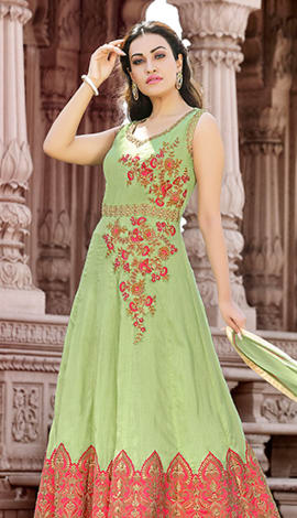 Green & Orange Cotton Salwar Kameez