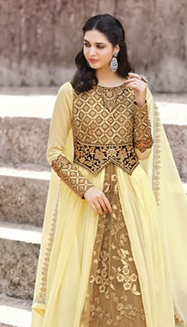 Yellow & Brown Faux Georgette Salwar Kameez