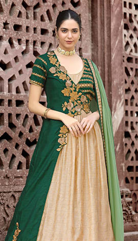 Green & Beige Textured & Foiled Filament Fabric With Unique Top Salwar Kameez