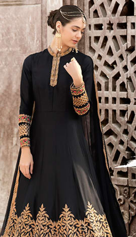 Black Textured & Foiled Filament Fabric With Unique Top Salwar Kameez