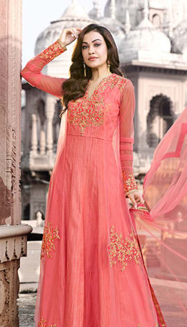 Peach Digitally Textured Printed Fabric With Supporting Salwar Kameez