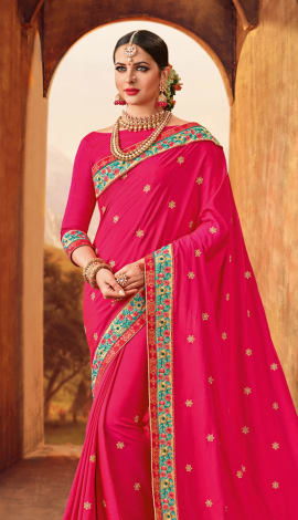 Magenta Pink Two Tone Silk Saree
