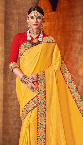 Yellow Two Tone Silk Saree