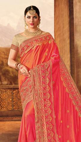 Red Two Tone Silk Saree