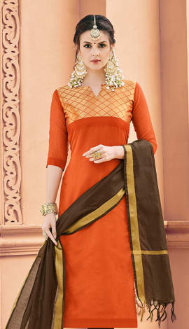 Orange Banarasi Silk Salwar Kameez