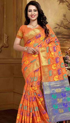Orange Silk Saree