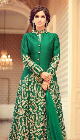 Green Art Silk Salwar Kameez