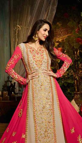 Off White And Pink Georgette Salwar Kameez