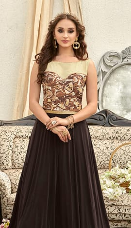 Brown Fancy Fabric Gowns