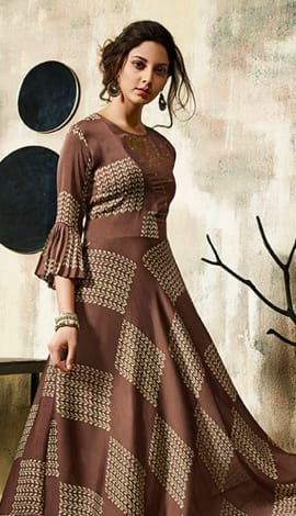 Coffee Satin Georgette Kurti