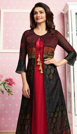 Red & Multi Colour Crepe Kurti