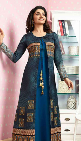 Blue & Multi Colour Crepe Kurti