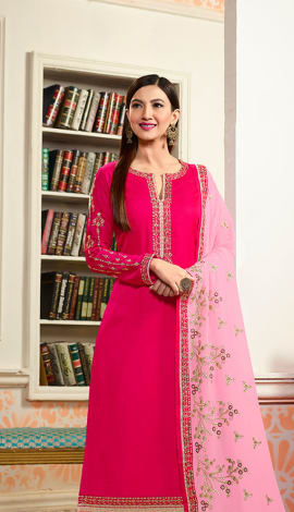 Pink Georgette & Satin Salwar Kameez