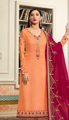 Orange Georgette & Satin Salwar Kameez