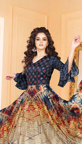 Blue & Multi Tussar Art Silk Gowns
