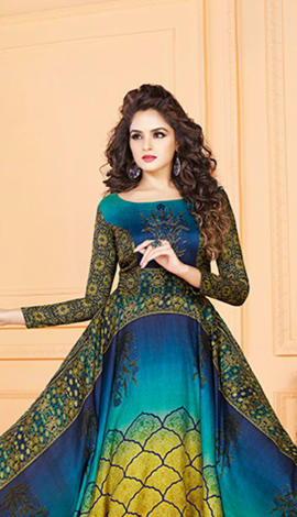 Blue & Yellow Tussar Art Silk Gowns