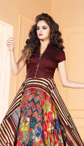 Maroon & Multi Tussar Art Silk Gowns