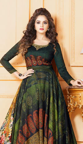 Dark Green Tussar Art Silk Gowns