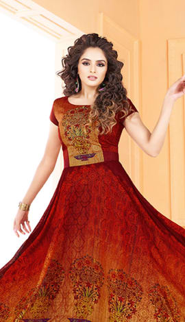 Red & Yellow Tussar Art Silk Gowns