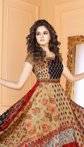 Multi Tussar Art Silk Gowns