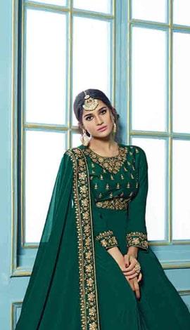 Pine Green Georgette Salwar Kameez