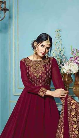 Wine Georgette Salwar Kameez