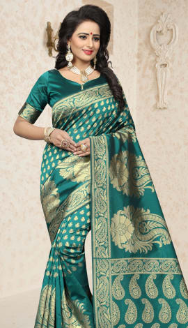 Green Cherry Banarasi Silk Saree