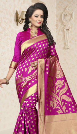 Magenta Cherry Banarasi Silk Saree