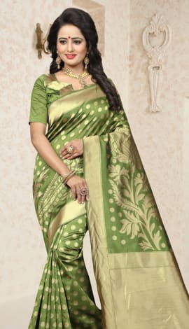 Mehandi Green Cherry Banarasi Silk Saree