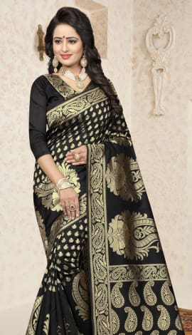 Black Cherry Banarasi Silk Saree