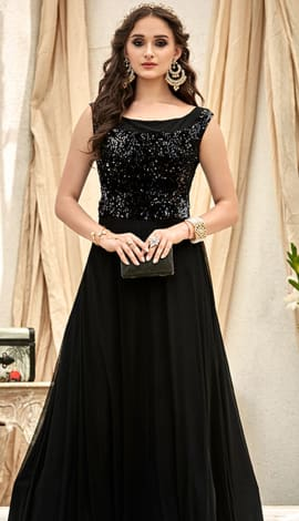 Black Fancy Fabric Gowns