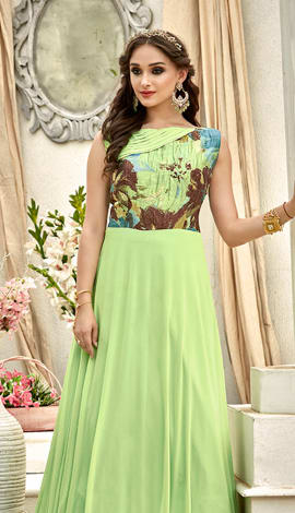 Green Fancy Fabric Gowns