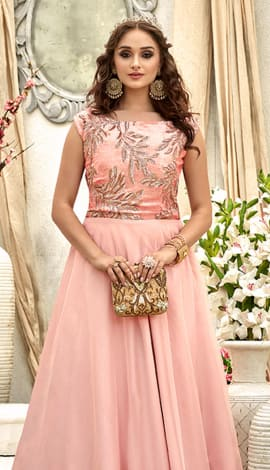 Light Pink Fancy Fabric Gowns