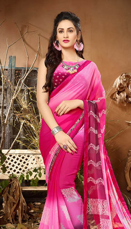 Shaded Pink Georgette Saree