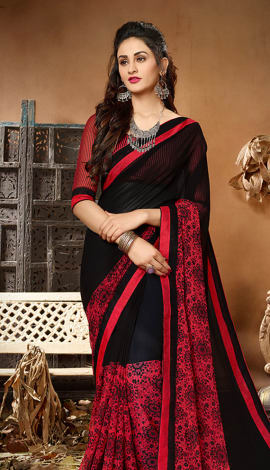 Black & Red Georgette Saree