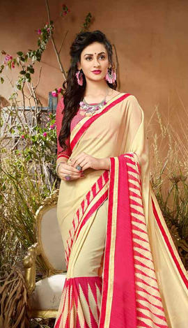 Cream & Pink Georgette Saree
