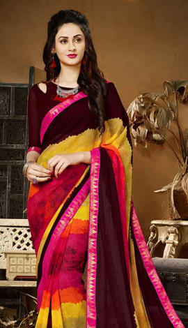 Dark Brown & Multi Georgette Saree