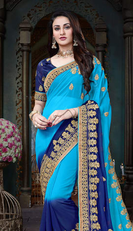 Shaded Blue Georgette Saree