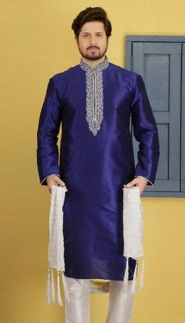 Royal Blue Silk Men