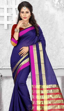 Royal Blue Cotton Silk Saree