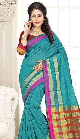 Teal Green Cotton Silk Saree
