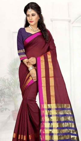 Dark Maroon Cotton Silk Saree