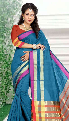 Teal Blue Cotton Silk Saree