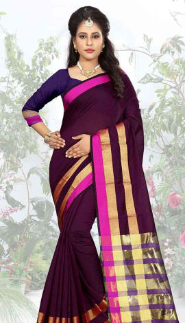 Wine Cotton Silk Saree