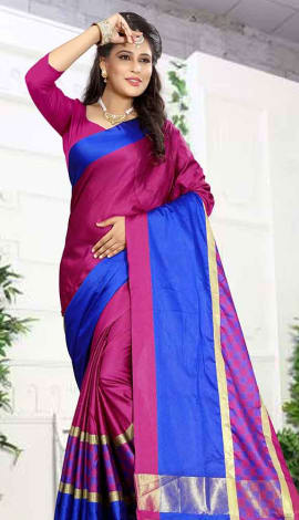 Fuchsia Pink & Blue Cotton Silk Saree