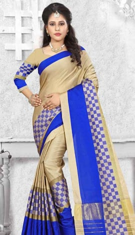 Cream & Blue Cotton Silk Saree