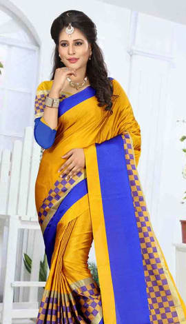 Mustard & Blue Cotton Silk Saree