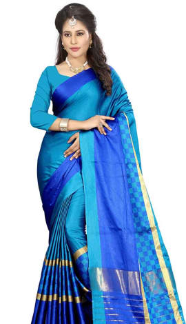Sky Blue & Blue Cotton Silk Saree