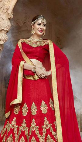 Red Art Silk Lehenga